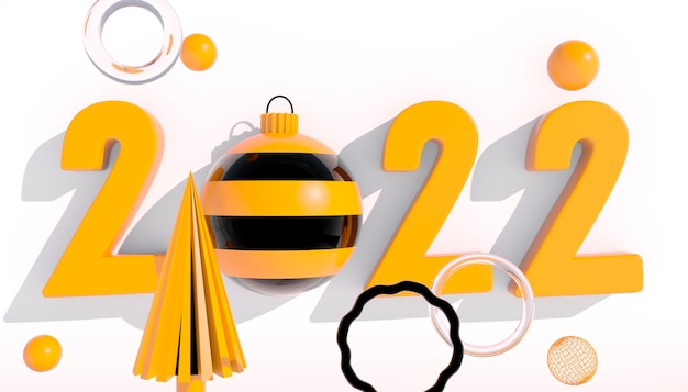 Frohes neues jahr 2022. 3d-zahlen mit geometrischen formen und weihnachtskugel auf weißem hintergrund. 3d-rendering.