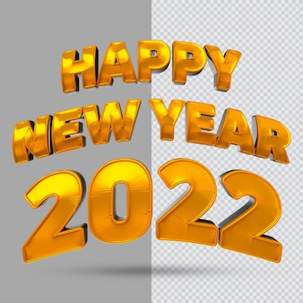 Frohes neues jahr 2022 goldtext 3d-rendering