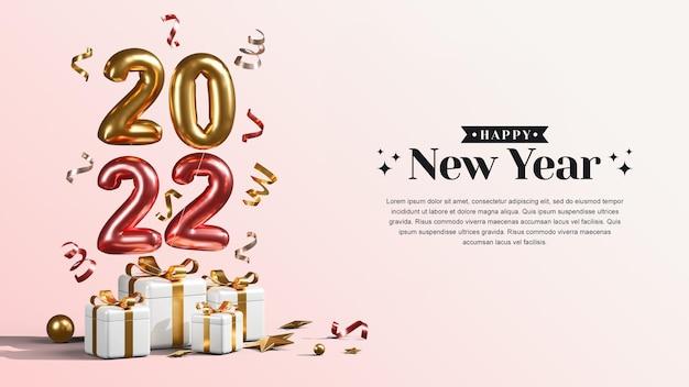 Frohes neues jahr 2022 mit geschenkboxen, luftballons und konfetti 3d-rendering-illustrationen
