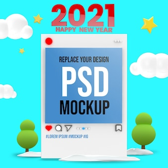 Frohes neues jahr 3d rendering mockup design