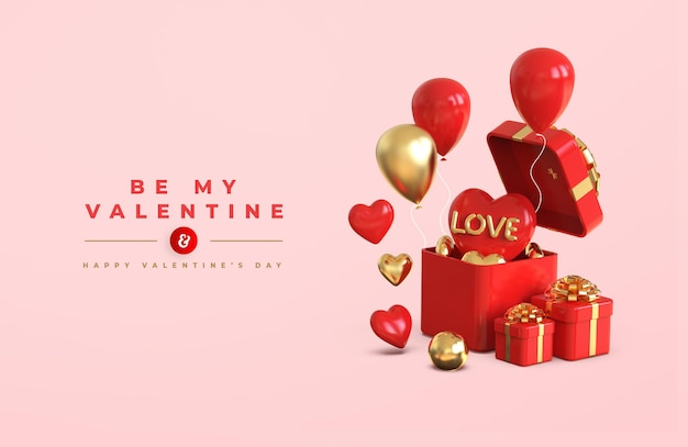 Frohes valentinstag-banner-modell mit romantischer kreativer 3d-komposition