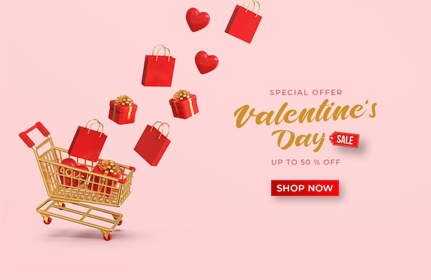 Frohes valentinstag-verkaufsfahnen-modell mit romantischer kreativer 3d-komposition