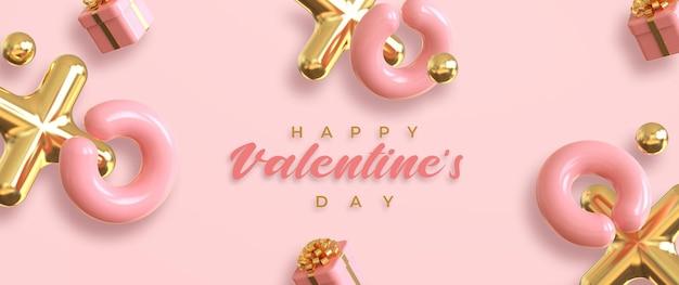 Frohes valentinstagbanner mit romantischer kreativer komposition 3d
