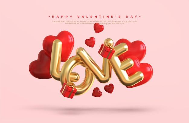 Frohes valentinstagfahne mit metallischem text des goldes 3d