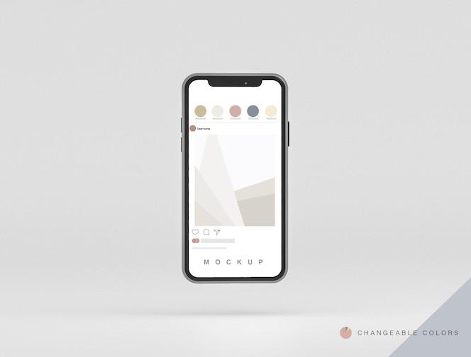 Frontal minimales 3d-telefonmodell schweben