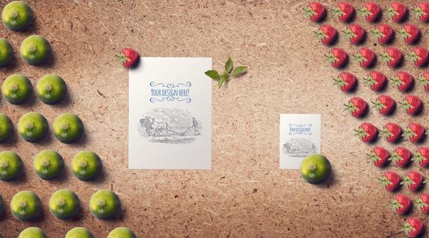 Früchte mit sägemehl hintergrund modell