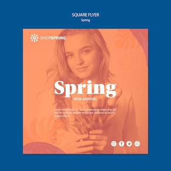 Frühling einkaufen quadrat flyer