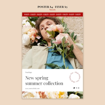 Frühlings-sommer-modekollektionsplakat und flyer-designschablone