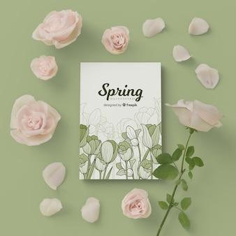 Frühlingskarte mit blumenrahmen der blüte 3d