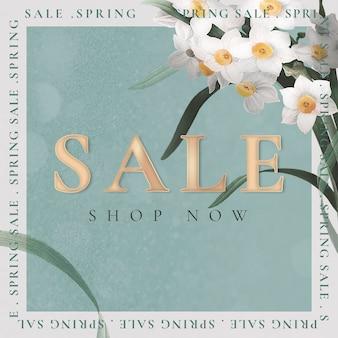Frühlingsverkaufsvorlage psd für social-media-anzeige