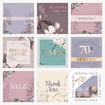 Frühlingsverkaufsvorlage psd für social media post set