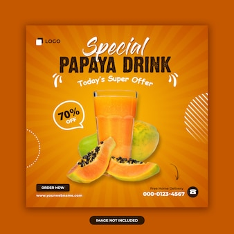 Fruit drink verkauf social media post banner design-vorlage