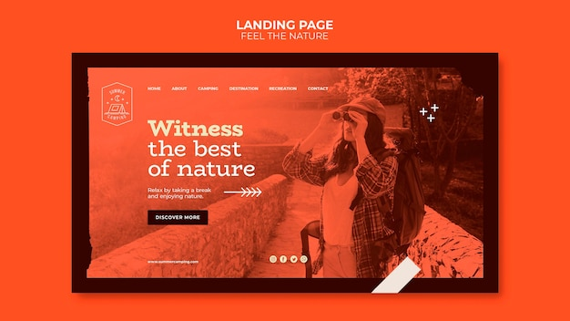 Fühle die landing page der natur