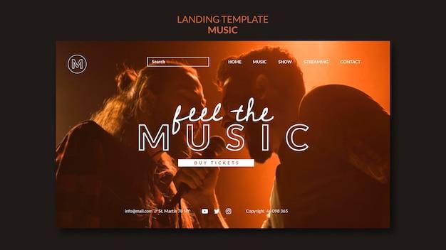 Fühlen sie die musik-landingpage-vorlage