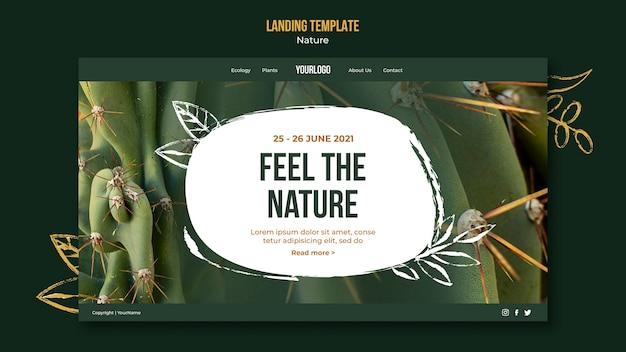 Fühlen sie die natur landing page vorlage
