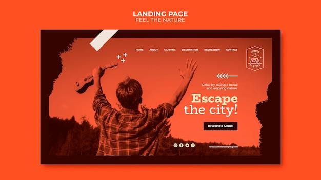 Fühlen sie die natur landing page web-vorlage