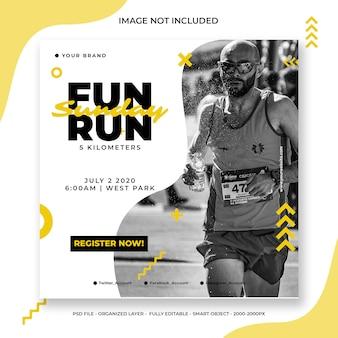 Fun run social media post oder quadratische banner-vorlage
