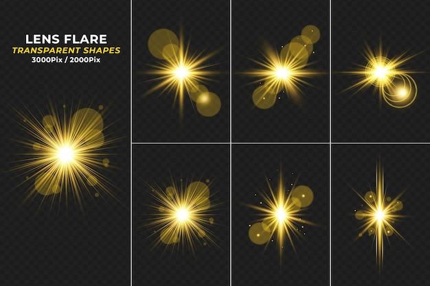 Funkeln goldener transparenter lichteffekt lens flare