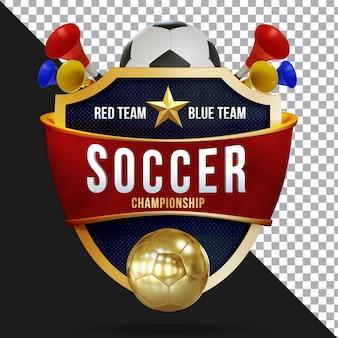 Fußball 3d-rendering zusammensetzung isolierte schicht