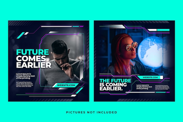 Futuristic social media instagram feed template