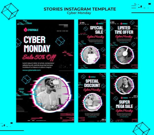 Futuristische cyber-monday-instagram-geschichten-sammlung