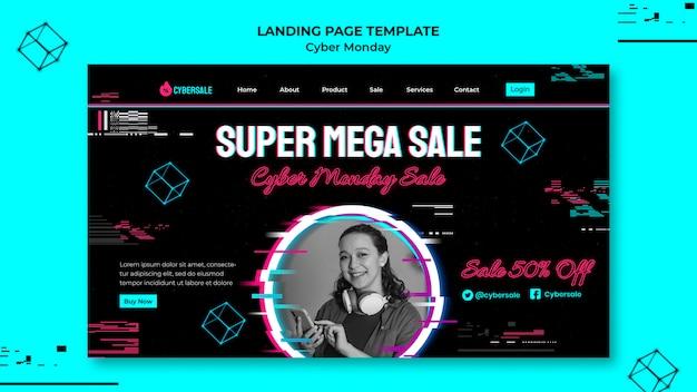 Futuristische cyber-monday-landing-page-vorlage