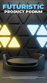 Futuristische podiumsbühnenvorlage, 3d-rendering