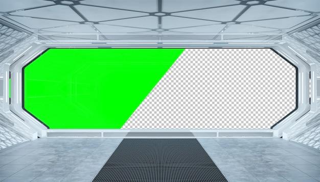 Futuristischer innenraum des weißen raumschiffs mit herausgeschnittenem fenster