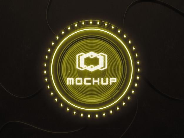 Futuristischer logo-mock-up-effektprojektor