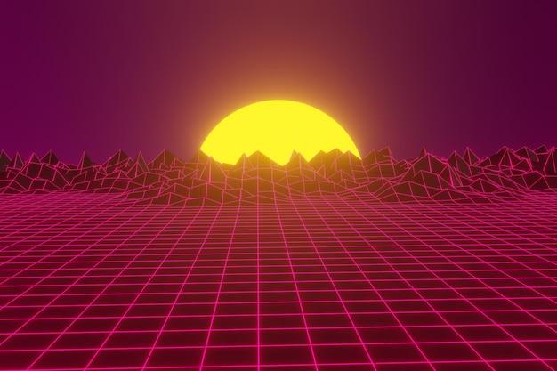 Futuristischer science-fiction-landschaftshintergrund mit lila neon
