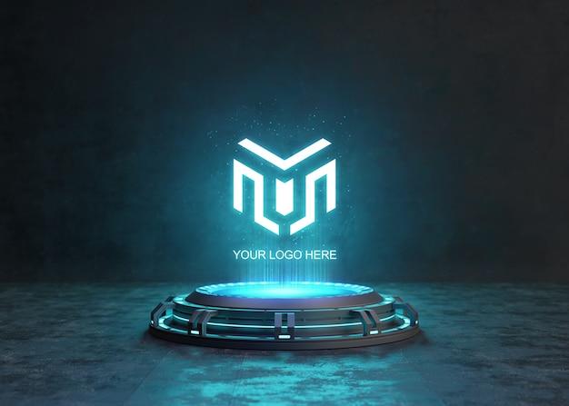 Futuristischer sockel für logo-modell