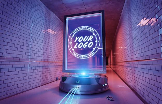 Futuristisches anschlagtafelintunnel-rohrstationsmodell