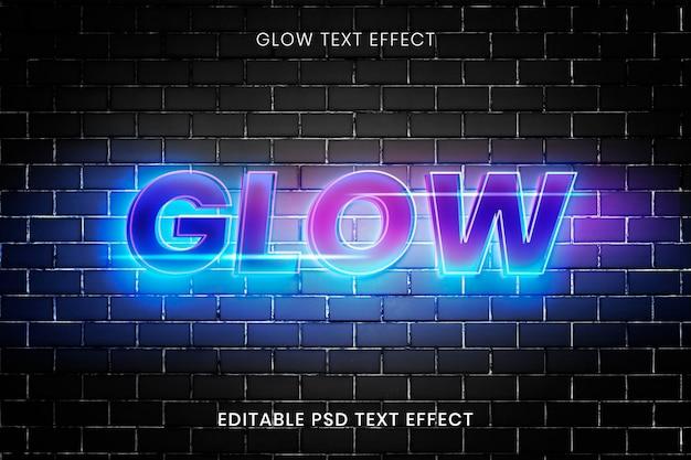 Futuristisches glühen texteffekt psd bearbeitbare vorlage
