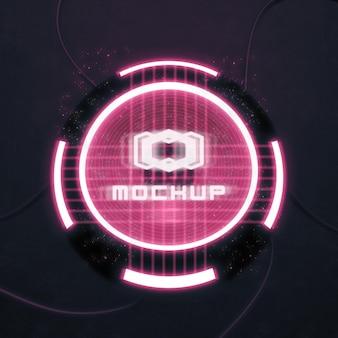 Futuristisches logo-mock-up in hellen lichtern