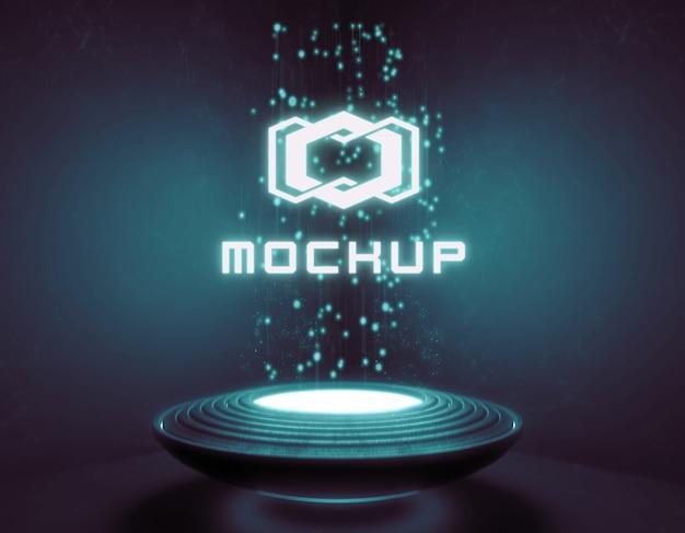 Futuristisches logo-mock-up in neonlicht