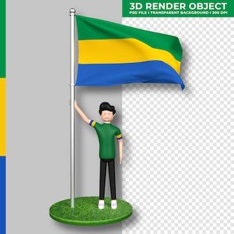Gabun-flagge mit niedlichen menschen-cartoon-figur. tag der unabhängigkeit. 3d-rendering.