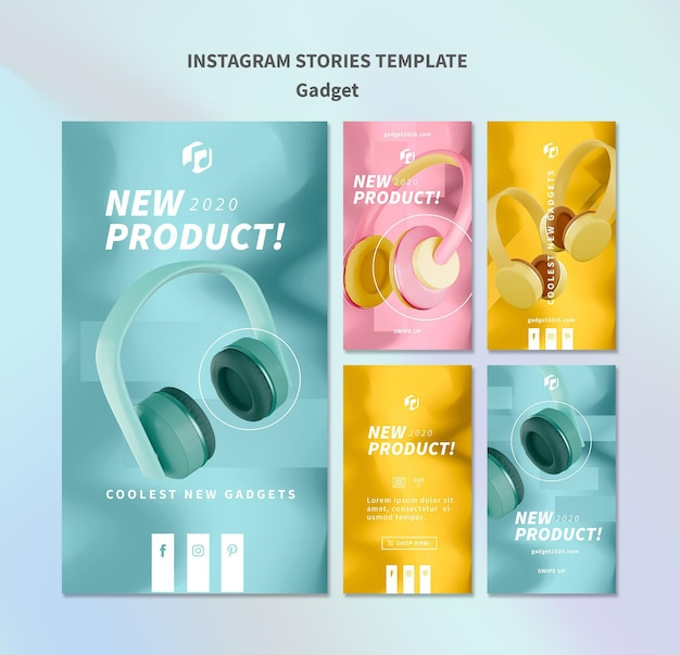 Gadget-konzept instagram geschichten vorlage