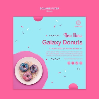 Galaxy donuts quadratische flyer vorlage