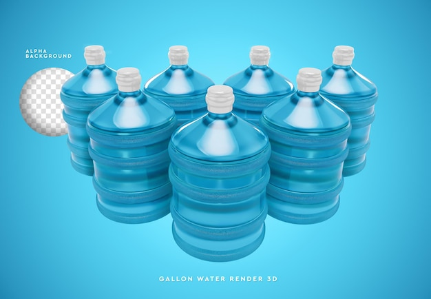 Gallonen wasser 3d rendering isoliert