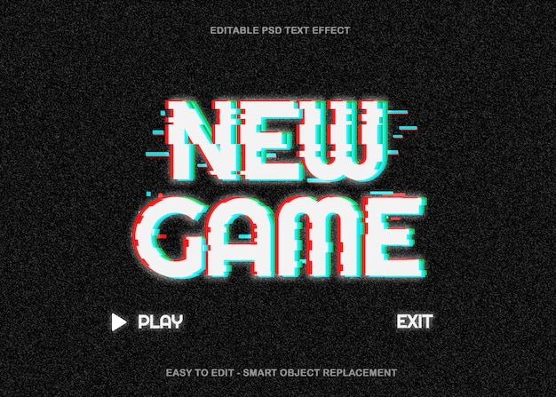 Game glitch text-effekt