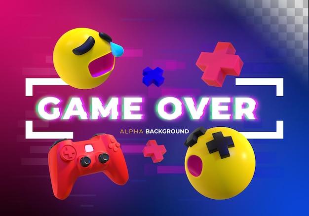 Gamer-banner mit glitch-effekt