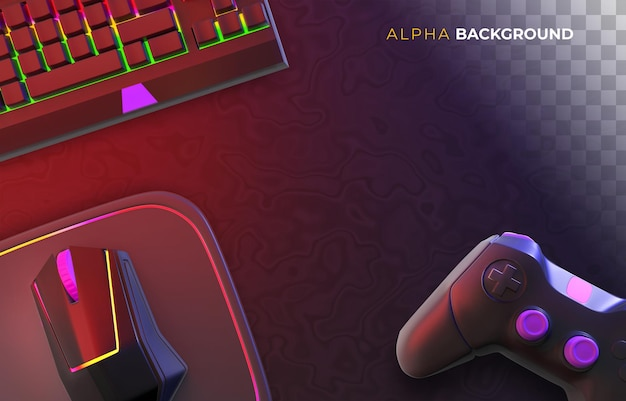 Gamer-hintergrund mit videospielzubehör