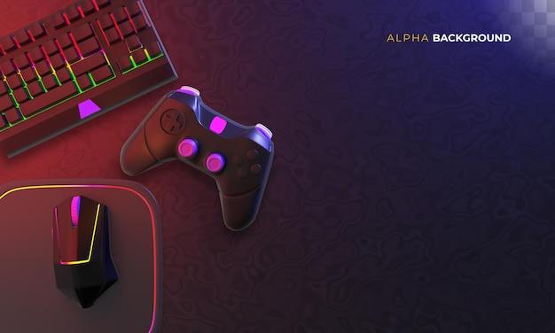 Gamer-hintergrund mit zubehör