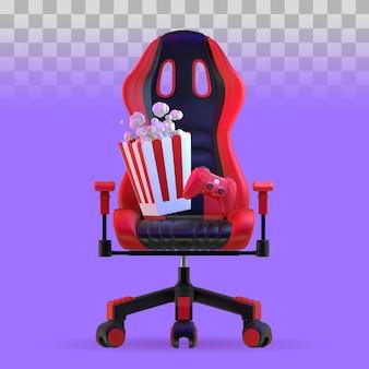 Gamerstuhl mit unterhaltungselementen. 3d-darstellung