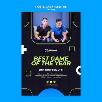 Gaming-konzept flyer vorlage stil