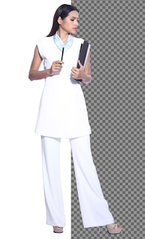 Ganzkörper-snap-figur, 20er jahre asiatische geschäftsfrau smart in formellen hosen, isoliert. gebräuntes büromädchen hat langes gerades schwarzes haar, das über weißem hintergrundstudio lächeln geht