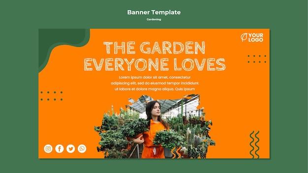 Gartenkonzept-bannerschablone
