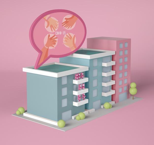 Gebäude mit coronavirus-chat-blase