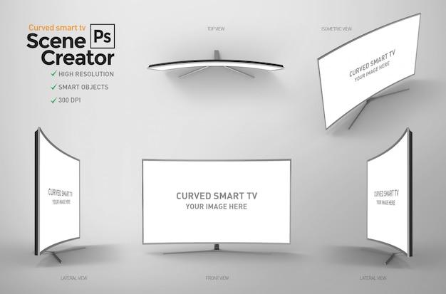 Gebogener smart-tv. szenenersteller.
