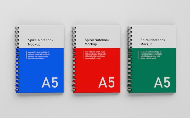 Gebrauchsfertig triple bussiness hard cover a5 spiralbinder notizblock mock up design-vorlage in der draufsicht